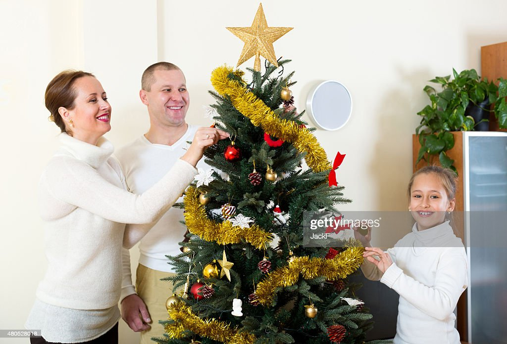 family preparing for Christmas : Stockfoto