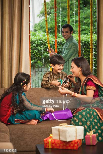 Family preparing for Diwali