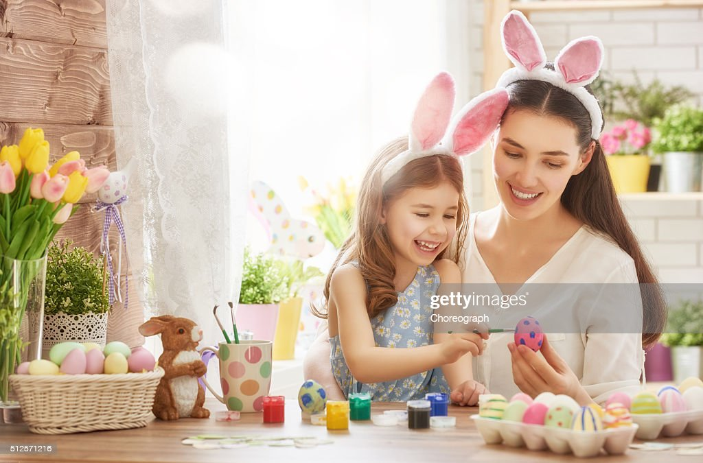 family preparing for Easter : Stock Photo