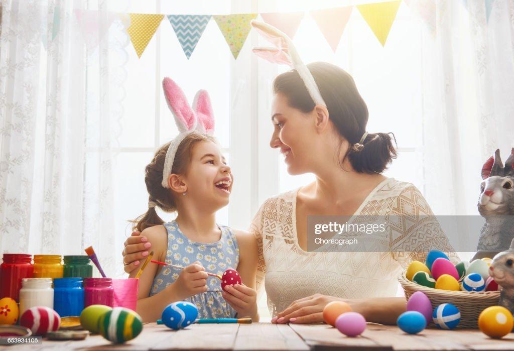 family preparing for Easter : Stock Photo