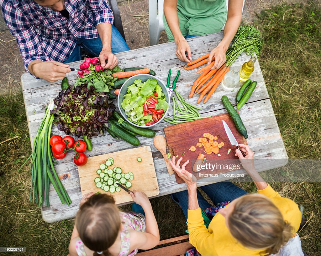 Family Preparing Salad In Garden : Stock Photo