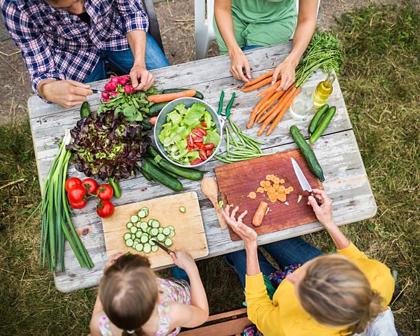 Family Preparing Salad In Garden Wall Art