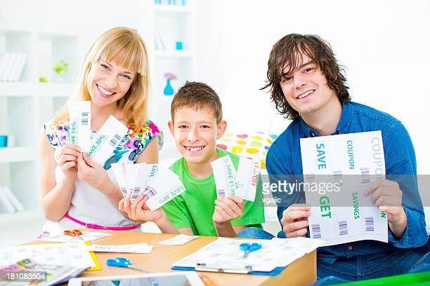 Family Preparing Shopping Coupons.