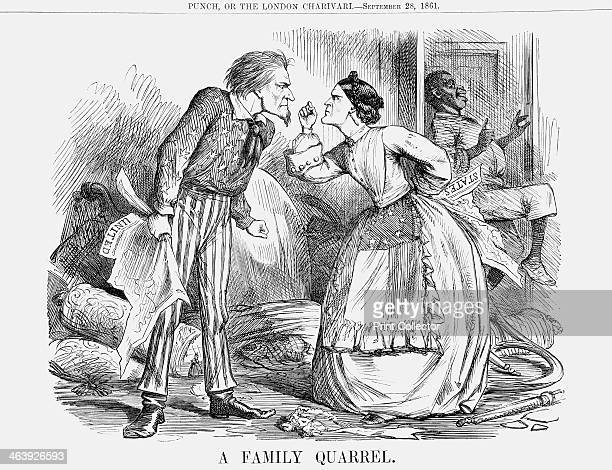 'A Family Quarrel' 1861 On the left is President Lincoln and facing him is Mrs Carolina representative of the Southern States The setting is domestic...