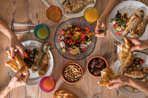 Family ready for İftar meal in Ramadan 955537560