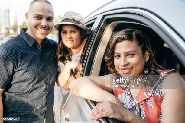 family ready to adventure - family driving stock photos and pictures