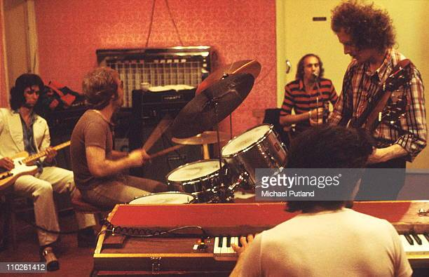 Family rehearsing Harlesden London 17th July 1972 LR John Whitney Rob Townsend John Palmer Roger Chapman Jim Cregan