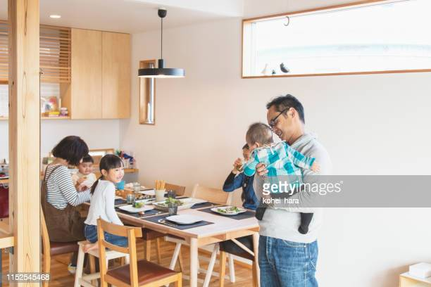 family relaxed at home - family at home stock photos and pictures