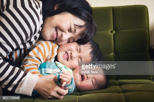 Family relaxed at home