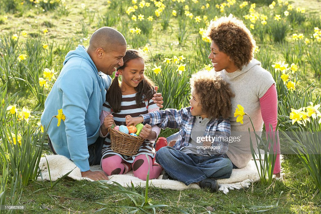 Family Relaxing In Field Of Spring Daffodils : Stock Photo