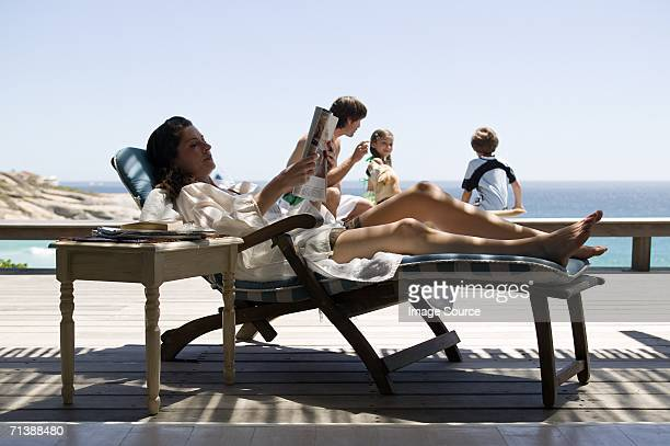 Family relaxing on holiday