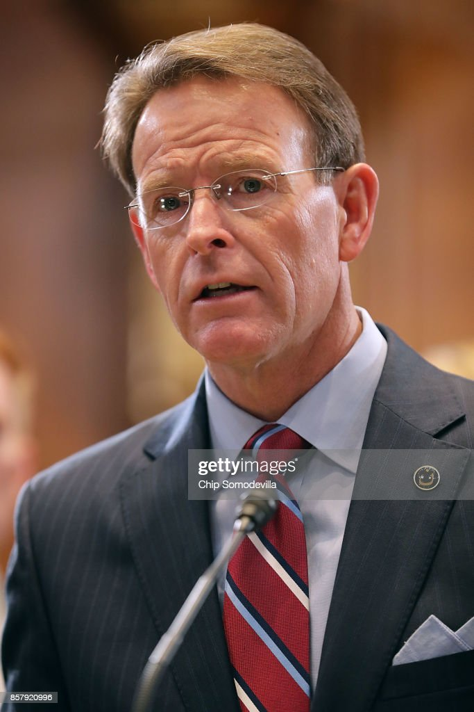 Family Research Council President Tony Perkins speaks in favor of the Senate version of the 'Pain Capable Unborn Child Protection Act' during a news conference in the Dirksen Senate Office Building on Capitol Hill October 5, 2017 in Washington, DC. Sen. Lindsey Graham (R-SC) introduced the companion legislation to House of Representatives' version, which passed earlier this week by a vote of 237 to 189.