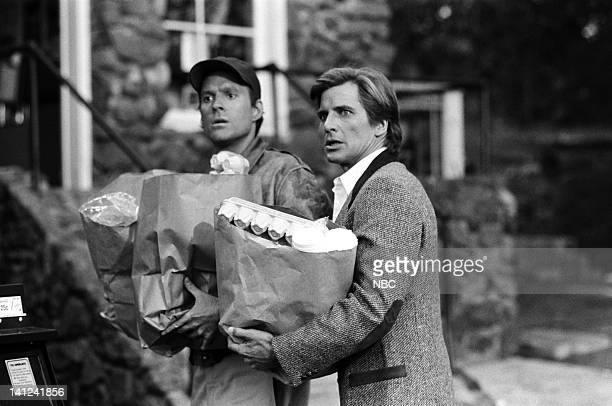 TEAM Family Reunion Episode 8 Pictured Dwight Schultz as 'Howling Mad' Murdock Dirk Benedict as Templeton 'Faceman' Peck Photo by NBCU Photo Bank