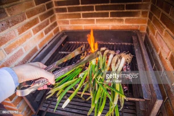 family reunion on sunday enjoying a typical calçotada in catalonia, cooking calçots (scallions), a spring onions vegetable grilled on the garden barbecue eaten with romesco sauce that gives a very good taste. - 鉗子 ストックフォトと画像