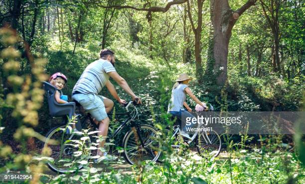 family riding bicycle in a forest - small group of people stock pictures, royalty-free photos & images