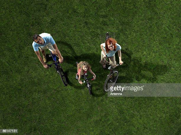 A family riding bicycles