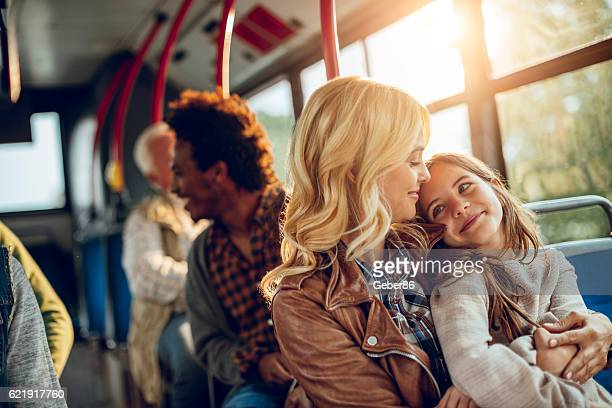 Family riding in a bus