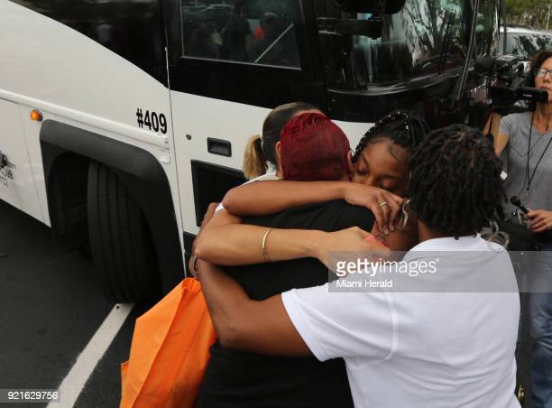 A family says goodbye as Stoneman Douglas students wait to board buses to Tallahassee Fla heading to the Florida Capitol to advocate for gun control...