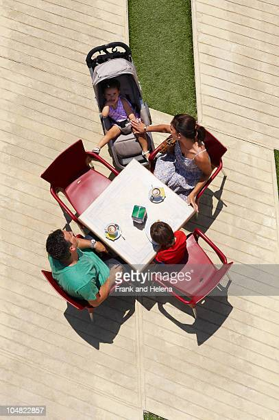 Family seated around table