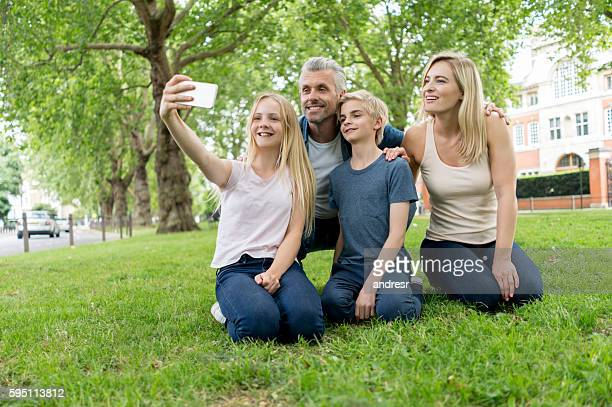 Family selfie at the park
