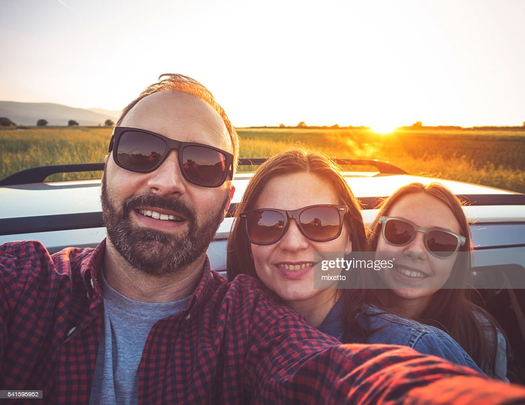 Family selfie in the nature : Stock Photo