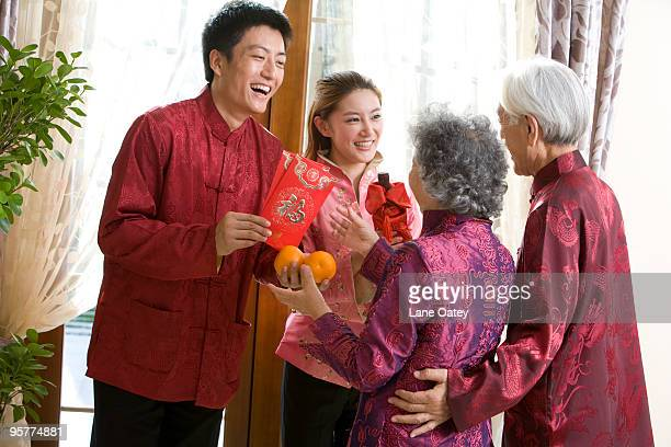 Family sending Chinese New Year gifts