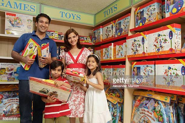 family shopping for toys