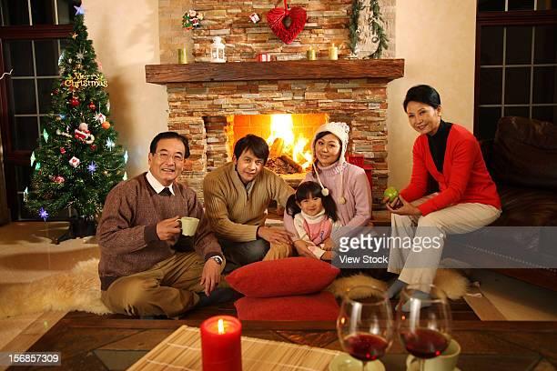 Family sitting on floor