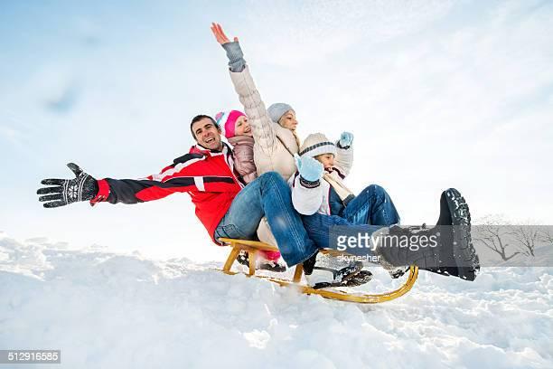 Familie sledging.