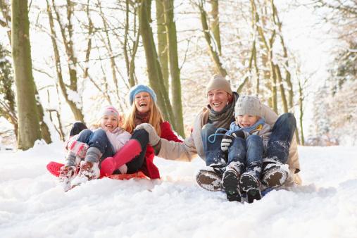 Family Sledging Through Snowy Woodland 134198053