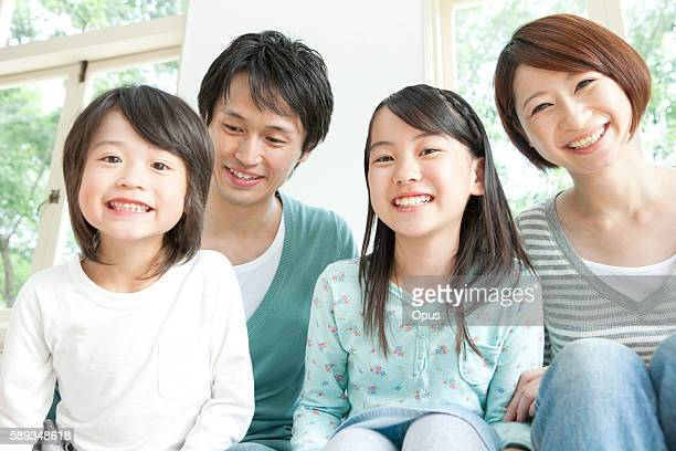 A family smiling