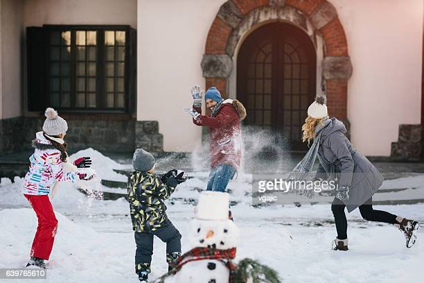 Family Snowball Fight