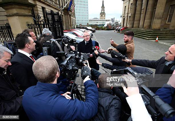Family spokesman Robin Palmer speaks to the media outside Newcastle Crown Court after the family of PC David Rathband lost the civil court case they...