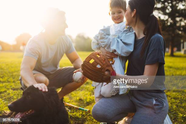 family sport day - softball sport stock pictures, royalty-free photos & images