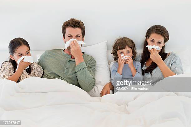 Family suffering from cold