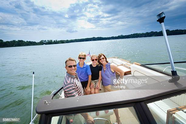 Family Summer Vacation Boating in Lake