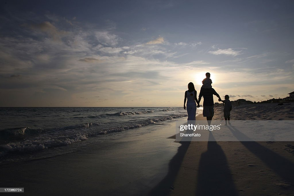 Family Sunset Walk : Stock Photo