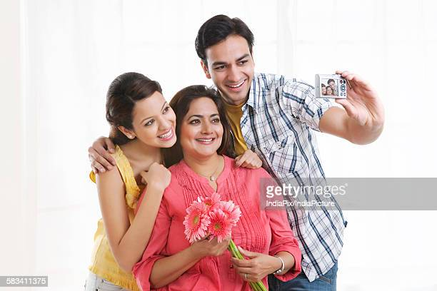 Family taking a self portrait