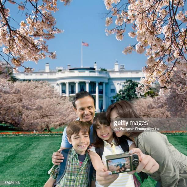 Family taking self-portrait near the White House