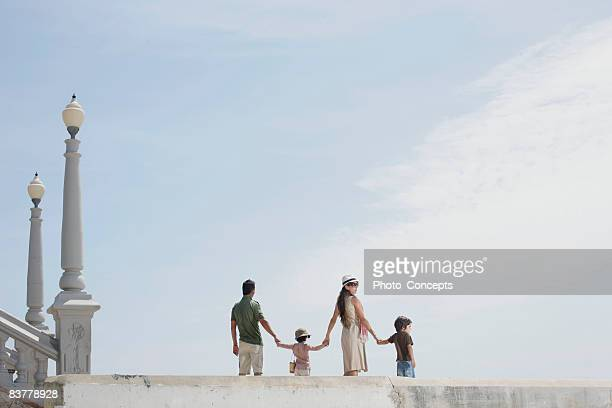 Family taking stroll shot from low angle