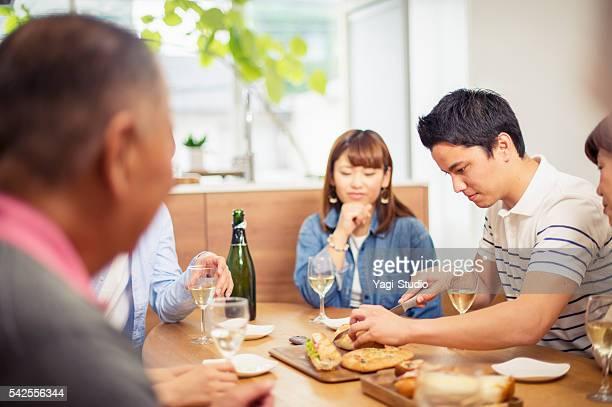 Family talking at home