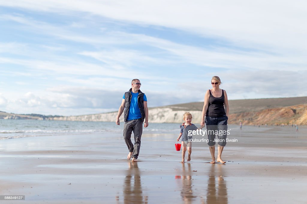 Family time, Compton Bay, Isle of Wight : Stock Photo