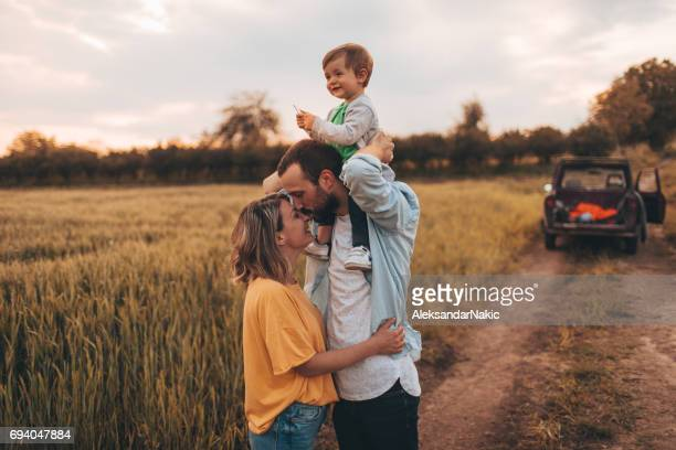 family time! - happy family in car stock photos and pictures