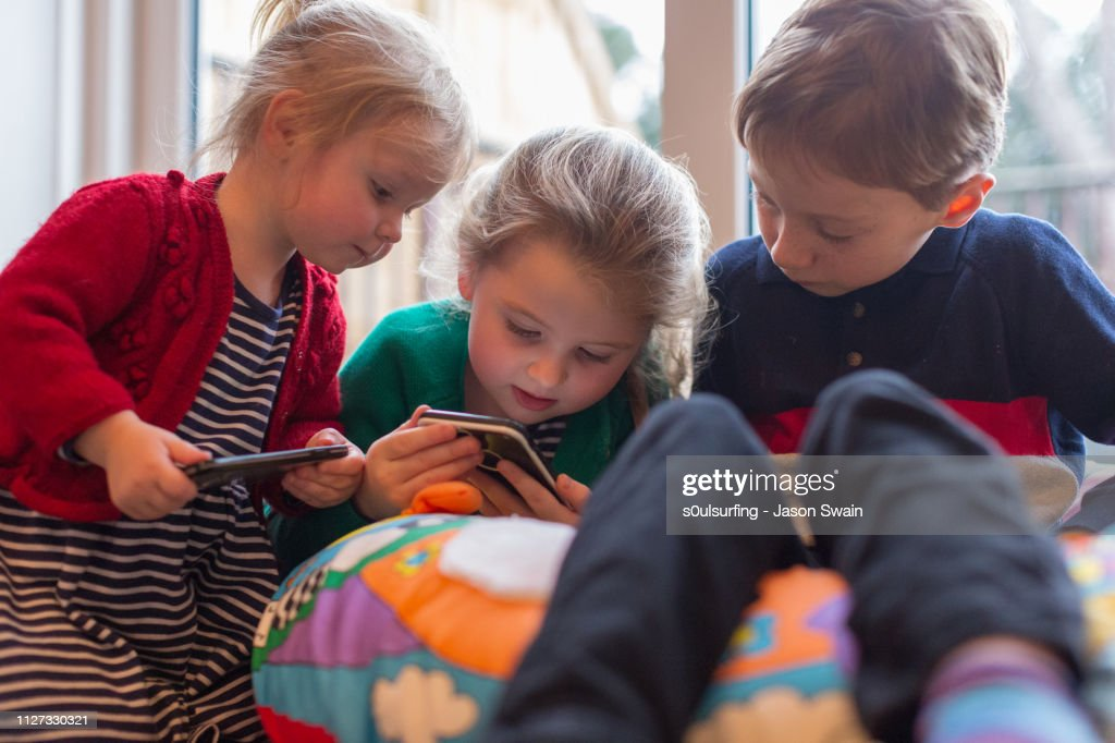 Family time with technology : Stock Photo