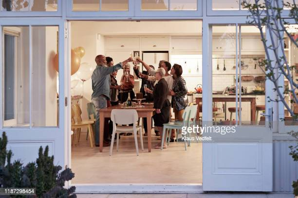 family toasting drinks during birthday party - sociale bijeenkomst stockfoto's en -beelden