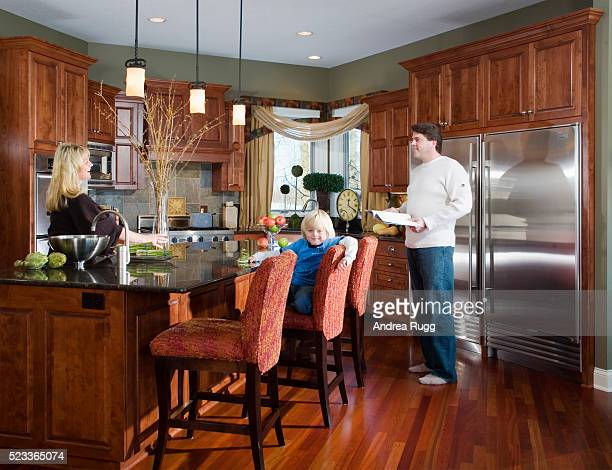 Family Together in Traditional Kitchen