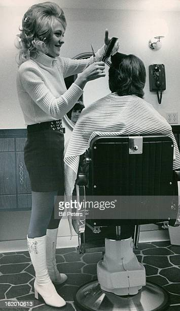 OCT 26 1972 NOV 8 1972 Family Tradition Kept Going Mrs Ninva Clark works with her mother Mrs Jessie Sowa at the new Hairstyling for Men shop in...