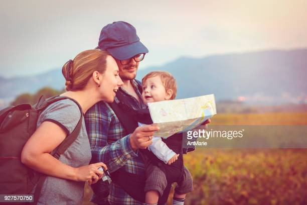Family travelling in summer