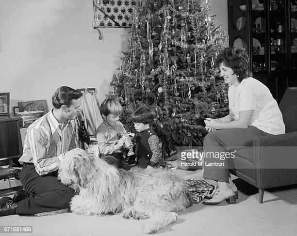 family unwrapping christmas gifts - mamífero con garras fotografías e imágenes de stock