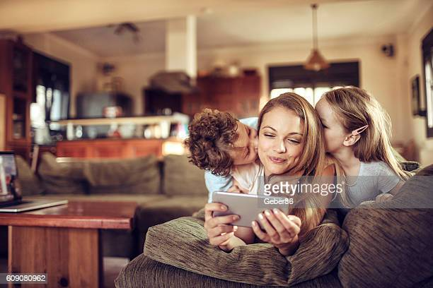 Family using a phone